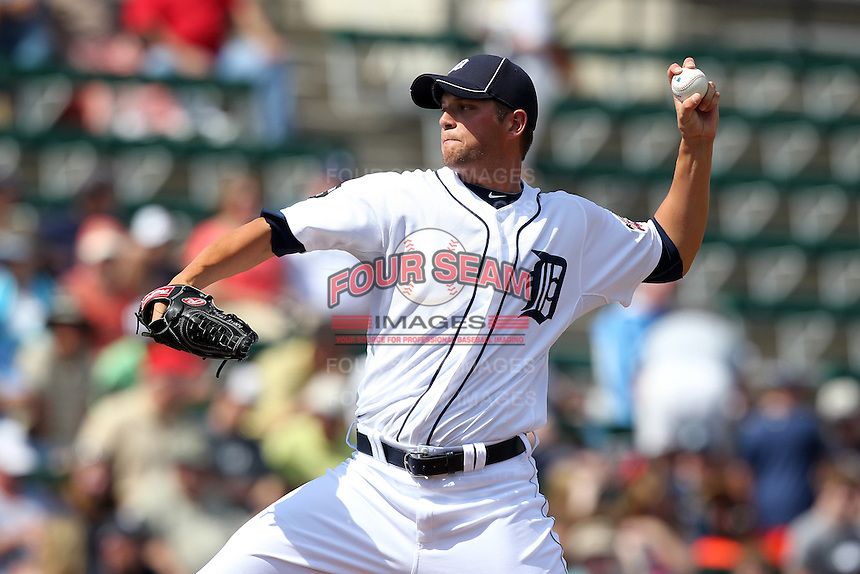 Detroit Tigers Andrew Oliver #43 during a exhibition game vs. the Florida Southern Mocs at Joker Marchant Stadium in Lakeland, Florida;  February 25, 2011.  Detroit defeated Florida Southern 17-5.  Photo By Mike Janes/Four Seam Images