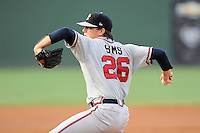 Starting pitcher Lucas Sims (26) of the Rome Braves in a game against the Greenville Drive on Wednesday, August 21, 2013, at Fluor Field at the West End in Greenville, South Carolina. Sims was the No. 1 pick of the Atlanta Braves in the first round of the 2012 First-Year Player Draft. Rome and Sims picked up the win, 6-2. (Tom Priddy/Four Seam Images)