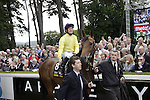September 05, 2009: Eventual winner Sea The Stars is paraded before the race. The Tattersalls Millions Irish Champion Stakes. Leopardstown Racecourse, Dublin, Ireland.