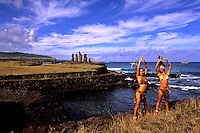 Women in Costume at Tahai Platform in Easter Island during Tapati Festival Rapa Nu