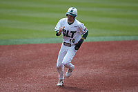 Austin Knight (14) of the Charlotte 49ers hustles towards third base against the UTSA Roadrunners at Hayes Stadium on April 18, 2021 in Charlotte, North Carolina. (Brian Westerholt/Four Seam Images)