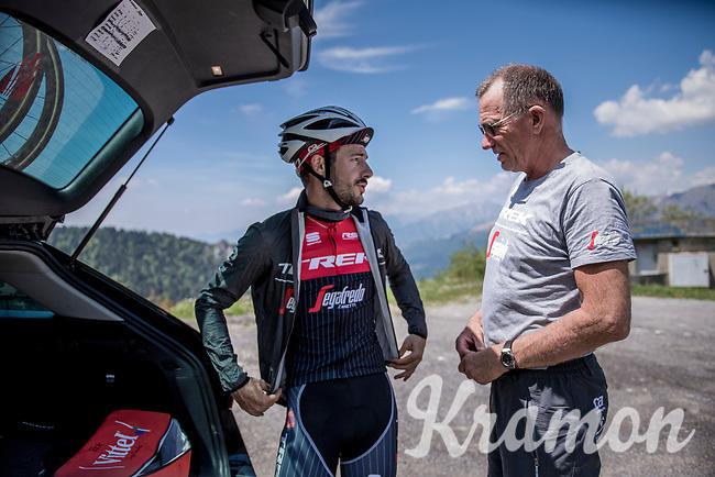 DS Kim Andersen & Julien Bernard (FRA/Trek-Segafredo) during the restday 3 training ride with Team Trek-Segafredo in the Dolomites<br /> <br /> 100th Giro d'Italia 2017