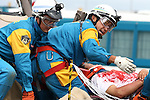 Jun 30, 2010 - Tokyo, Japan - Members of the Tokyo's Metropolitan Police Department take part in a disaster drill in Tokyo, Japan, on June 30, 2010. About 1,400 professional, several boats and 4 helicopters were mobilized for exercises which simulated earthquake, typhoon, plane crash, mountain rescue and poisonous gas attack.