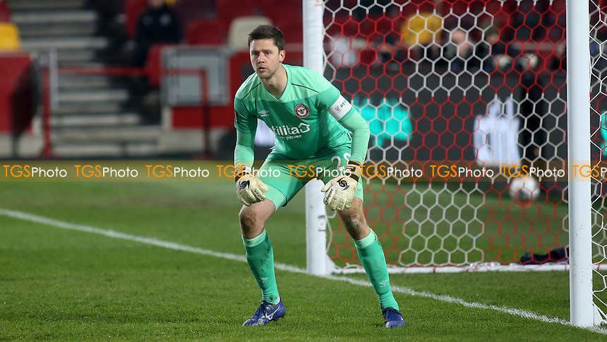 Brentford goalkeeper, Luke Daniels during Brentford vs Middlesbrough, Emirates FA Cup Football at the Brentford Community Stadium on 9th January 2021