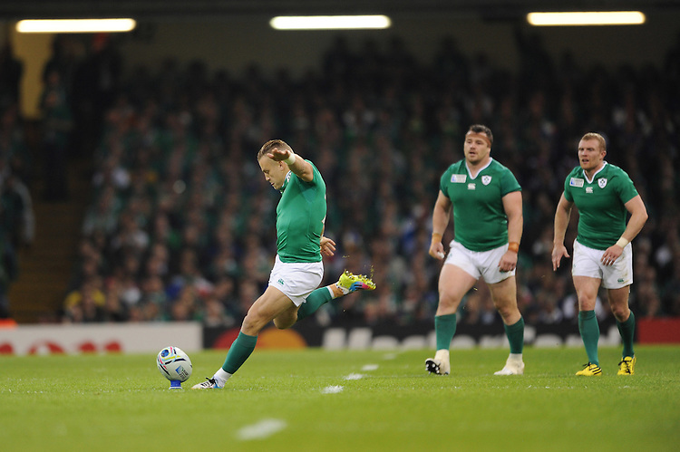 Ian Madigan of Ireland takes his first penalty kick after replacing Johnny Sexton of Ireland during Match 39 of the Rugby World Cup 2015 between France and Ireland - 11/10/2015 - Millennium Stadium, Cardiff<br /> Mandatory Credit: Rob Munro/Stewart Communications