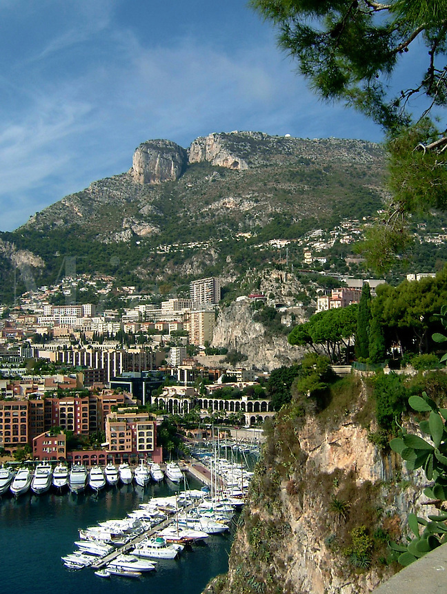 Yachts in the harbor of Monte Carlo, Monaco, with a view of luxury homes on the cliffs beyond.