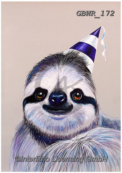 Simon, REALISTIC ANIMALS, REALISTISCHE TIERE, ANIMALES REALISTICOS, innovative, paintings+++++AdamBarsby_PartySloth,GBWR172,#a#, EVERYDAY