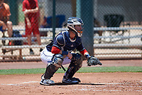 AZL Indians Blue catcher Michael Amditis (8) during an Arizona League game against the AZL Indians Red on July 7, 2019 at the Cleveland Indians Spring Training Complex in Goodyear, Arizona. The AZL Indians Blue defeated the AZL Indians Red 5-4. (Zachary Lucy/Four Seam Images)