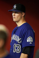 Colorado Rockies pitcher Drew Pomeranz #13 in the dugout during a National League regular season game against the Arizona Diamondbacks at Chase Field on October 3, 2012 in Phoenix, Arizona. Colorado defeated Arizona 2-1. (Mike Janes/Four Seam Images)