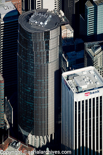 aerial photograph of 101 California Street and 100 California St, US Bank tower, San Francisco, California