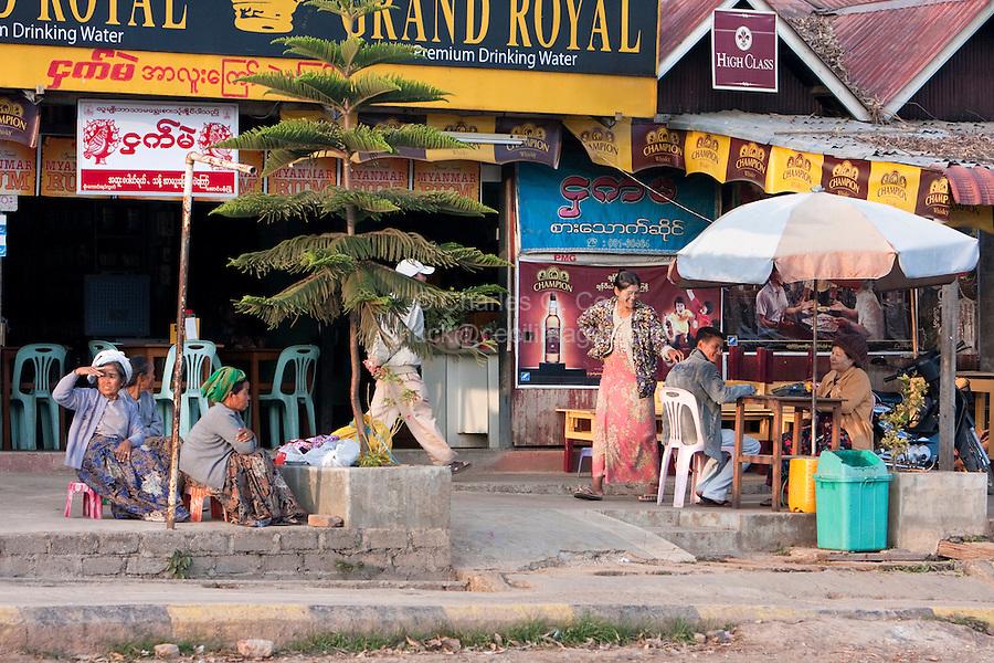 Myanmar, Burma, Shan State.  Outdoor Cafe, Roadside Rest Stop.