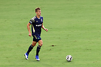 CARY, NC - AUGUST 01: Sam Brotherton #5 brings the ball up the field during a game between Birmingham Legion FC and North Carolina FC at Sahlen's Stadium at WakeMed Soccer Park on August 01, 2020 in Cary, North Carolina.