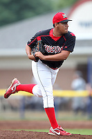 Batavia Muckdogs closing pitcher Danny Miranda #40 during a game against the Staten Island Yankees at Dwyer Stadium on July 28, 2011 in Batavia, New York.  Batavia defeated Staten Island 4-3.  (Mike Janes/Four Seam Images)
