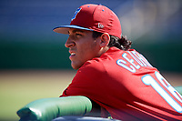 Philadelphia Phillies Jose Cedeno (16) in the dugout during a Florida Instructional League game against the Toronto Blue Jays on September 24, 2018 at Spectrum Field in Clearwater, Florida.  (Mike Janes/Four Seam Images)