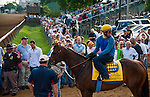 Bodemeister, trained by Bob Baffert and to be ridden by Mike Smith, comes to the track to work out in preparation for the 138th Kentucky Derby at Churchill Downs in Louisville, Kentucky on May 3, 2012