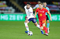 SWANSEA, WALES - NOVEMBER 12: Johnny #16 of the United States moves to the ball during a game between Wales and USMNT at Liberty Stadium on November 12, 2020 in Swansea, Wales.