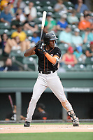 Third baseman J.C. Encarnacion (1) of the Delmarva Shorebirds bats in a game against the Greenville Drive on Friday, August 2, 2019, at Fluor Field at the West End in Greenville, South Carolina. The game was suspended in the second inning and will not be made up. (Tom Priddy/Four Seam Images)