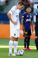 CARSON, CA - JUNE 19: Sacha Kljestan #16 of the Los Angeles Galaxy prepares to take a PK during a game between Seattle Sounders FC and Los Angeles Galaxy at Dignity Health Sports Park on June 19, 2021 in Carson, California.