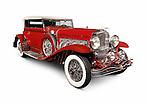 Red 1930 Duesenberg Model SJ Convertible Victoria by Rollston luxury classic vintage car isolated on white background with clipping path Image © MaximImages, License at https://www.maximimages.com