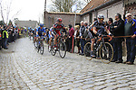 The peloton including Thor Hushovd (NOR) BMC Racing Team climbs Molenberg during the 96th edition of The Tour of Flanders 2012, running 256.9km from Bruges to Oudenaarde, Belgium. 1st April 2012. <br /> (Photo by Eoin Clarke/NEWSFILE).