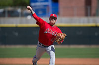 Los Angeles Angels relief pitcher Cortland Cox (40) during a Minor League Spring Training game against the Colorado Rockies at Tempe Diablo Stadium Complex on March 18, 2018 in Tempe, Arizona. (Zachary Lucy/Four Seam Images)