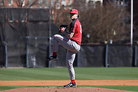 GREENSBORO, NC - FEBRUARY 22: Trey McLoughlin #32 of Fairfield University pitches the ball during a game between Fairfield and UNC Greensboro at UNCG Baseball Stadium on February 22, 2020 in Greensboro, North Carolina.