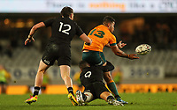 Australia's Hunter Paisami passes during the Bledisloe Cup rugby match between the New Zealand All Blacks and Australia Wallabies at Eden Park in Auckland, New Zealand on Saturday, 14 August 2021. Photo: Simon Watts / lintottphoto.co.nz / bwmedia.co.nz