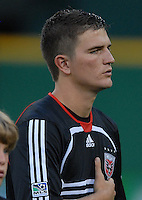 DC United defender Bobby Boswell (32) during the singing of the National Anthem. Monarcas Morelia tied DC United 1-1 in the SuperLiga opening match in group B, at RFK Stadium in Washington DC, Wednesday July 25, 2007.