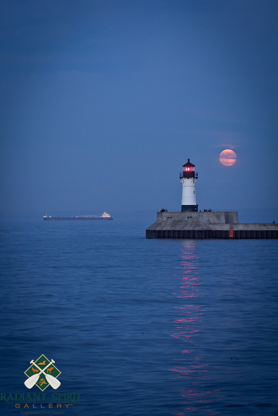 """""""Lake Superior under the Super Moon""""<br /> It was a lovely evening to watch the rising super moon from Canal Park."""