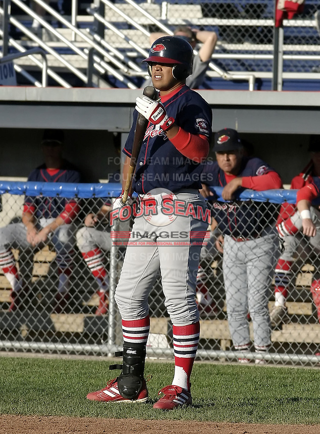 June 23, 2004:  Marcos Rodriguez of the New Jersey Cardinals, Short-Season Low-A NY-Penn League affiliate of the St. Louis Cardinals, during a game at Dwyer Stadium in Batavia, NY.  Photo by:  Mike Janes/Four Seam Images
