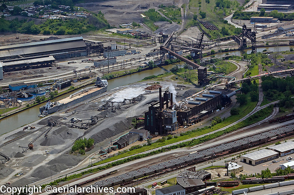 aerial photograph of Cleveland steel mills at the Cuyahoga river, Cleveland, Ohio