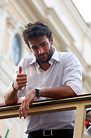 The tennis player Matteo Berrettini on the bus while the Italian national team carries the UEFA Euro 2020 cup around Rome on an open bus, welcomed by thousands of supporters. The bus left from piazza Colonna and has reached Piazza Venezia.<br /> Rome (Italy), July 12th 2021<br /> Photo Samantha Zucchi Insidefoto