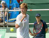 Moscow, Russia, 15 th July, 2016, Tennis,  Davis Cup Russia-Netherlands, First rubber: Andrey Rublev (RUS) jubelates<br /> Photo: Henk Koster/tennisimages.com