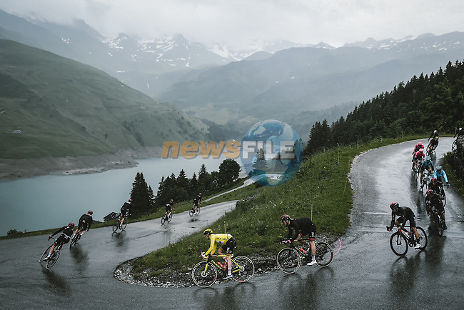 The peloton with Yellow Jersey Tadej Pogacar (SLO) UAE Team Emirates descend the Col du Pré during Stage 9 of the 2021 Tour de France, running 150.8km from Cluses to Tignes, France. 4th July 2021.  <br /> Picture: A.S.O./Pauline Ballet   Cyclefile<br /> <br /> All photos usage must carry mandatory copyright credit (© Cyclefile   A.S.O./Pauline Ballet)
