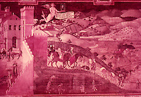"Siena:  Palazzo Pubblico--a painting by Ambrogio Lorenzetti.  ""In the sweeping view of an actual countryside we have the first appearance of landscape since the ancient world""....Gardner's Art Through the Ages, 6th ed., p. 422.  Reference only."