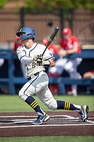 Michigan Wolverines first baseman Jimmy Obertop (8) follows through on his swing against the Maryland Terrapins on May 23, 2021 in NCAA baseball action at Ray Fisher Stadium in Ann Arbor, Michigan. Maryland beat the Wolverines 7-3. (Andrew Woolley/Four Seam Images)