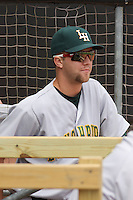 Brady Boxberger #31 of the Lynchburg Hillcats in the dugout during a game against the Kinston Indians at Granger Stadium  on April 28, 2010 in Kinston, NC. Photo by Robert Gurganus/Four Seam Images.