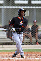 Miami Marlins infielder Mason Davis #20 at bat during an intramural game on September 30, 2014 at Roger Dean Complex in Jupiter, Florida.  (Stacy Jo Grant/Four Seam Images)
