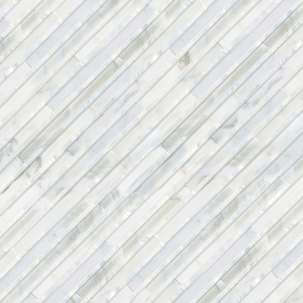 Corduroy, a hand-cut stone mosaic, shown in Venetian honed Calacatta and Shell , is part of the Tissé® collection for New Ravenna.