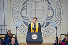 May 21, 2017; Valedictorian Caleb Pine delivers his address at the 2017 Commencement ceremony in Notre Dame Stadium.  (Photo by Barbara Johnston/University of Notre Dame)