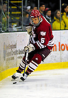 23 January 2009: University of Massachusetts Minutemen defenseman Topher Bevis, a Senior from Harvard, MA, in action against the University of Vermont Catamounts during the first game of a weekend series at Gutterson Fieldhouse in Burlington, Vermont. The Catamounts defeated the visiting Minutemen 2-1. Mandatory Photo Credit: Ed Wolfstein Photo