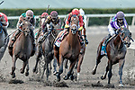 HALLANDALE BEACH, FL - MAR 31:Audible #8 trained by Todd A. Pletcher with John Velazquez in the irons contends for the lead at the final turn on the way to winning the Xpressbet Florida Derby (G1) at Gulfstream Park on March 31, 2018 in Hallandale Beach, Florida. (Photo by Bob Aaron/Eclipse Sportswire/Getty Images)