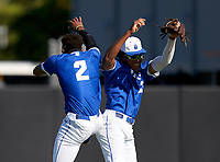 IMG Academy Ascenders outfielders Elijah Green (2) and James Wood (23) celebrate after closing out a game against the Lakeland Dreadnaughts on February 20, 2021 at IMG Academy in Bradenton, Florida.  (Mike Janes/Four Seam Images)