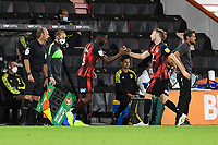 Jack Stacey of Bournemouth right is replaced by Jefferson Lerma of Bournemouth during AFC Bournemouth vs Crystal Palace, Carabao Cup Football at the Vitality Stadium on 15th September 2020