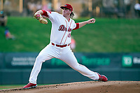 Starting pitcher Jay Groome (28) of the Greenville Drive in a game against the Hickory Crawdads on Tuesday, August 24, 2021, at Fluor Field at the West End in Greenville, South Carolina. (Tom Priddy/Four Seam Images)