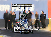 Feb 3, 2016; Chandler, AZ, USA; NHRA top fuel driver Dave Connolly during pre season testing at Wild Horse Pass Motorsports Park. Mandatory Credit: Mark J. Rebilas-USA TODAY Sports