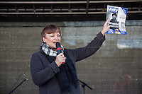 """Christine Blower (General Secretary of National Union of Teachers NUT & Unite Against Fascism UAF Vice chair).<br /> <br /> London, 22/03/2014. """"Stand Up To Racism & fascism - No to Scapegoating Immigrants, No to Islamophobia, Yes to Diversity"""", national demo marking UN Anti-Racism Day organised by TUC (Trade Union Congress) and UAF (Unite Against Fascism).<br /> <br /> For more information please click here: http://www.standuptoracism.org.uk/"""