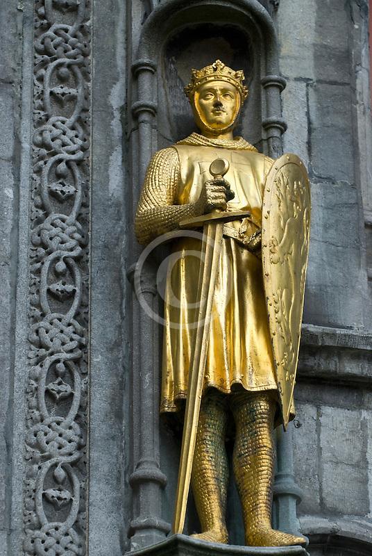 Belgium, Bruges, Statue of nobleman, City Hall
