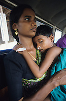 INDIA, lifeline express a hospital train from Impact India at railway station Calicut in Kerala, free surgery operation like eye problems, cleft lip and other disabilities from Polio / INDIEN, lifeline express, ein Hospitalzug von Impact India, wird u.a. auch von TATA finanziert, auf dem Bahnhof in Calicut Kerala, kostenlose Operationen wie Augenoperation , Beseitigung von Hasenscharte, Gaumenspalte und durch Polio hervorgerufene Behinderungen fuer arme Menschen, injured, verletzt