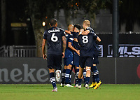 LAKE BUENA VISTA, FL - JULY 26: NYC FC celebrate a goal during a game between New York City FC and Toronto FC at ESPN Wide World of Sports on July 26, 2020 in Lake Buena Vista, Florida.